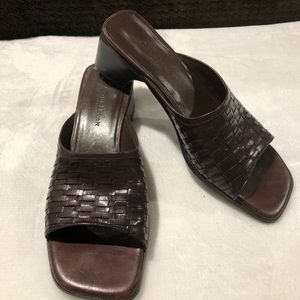 Cole Haan Woven leather block heel slip on / slide
